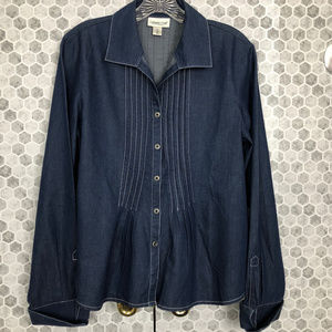 Coldwater Creek Denim Blouse with Pleating